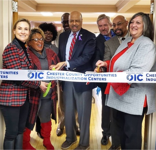 Photo of the ribbon cutting for Chester County OIC in Coatesville.
