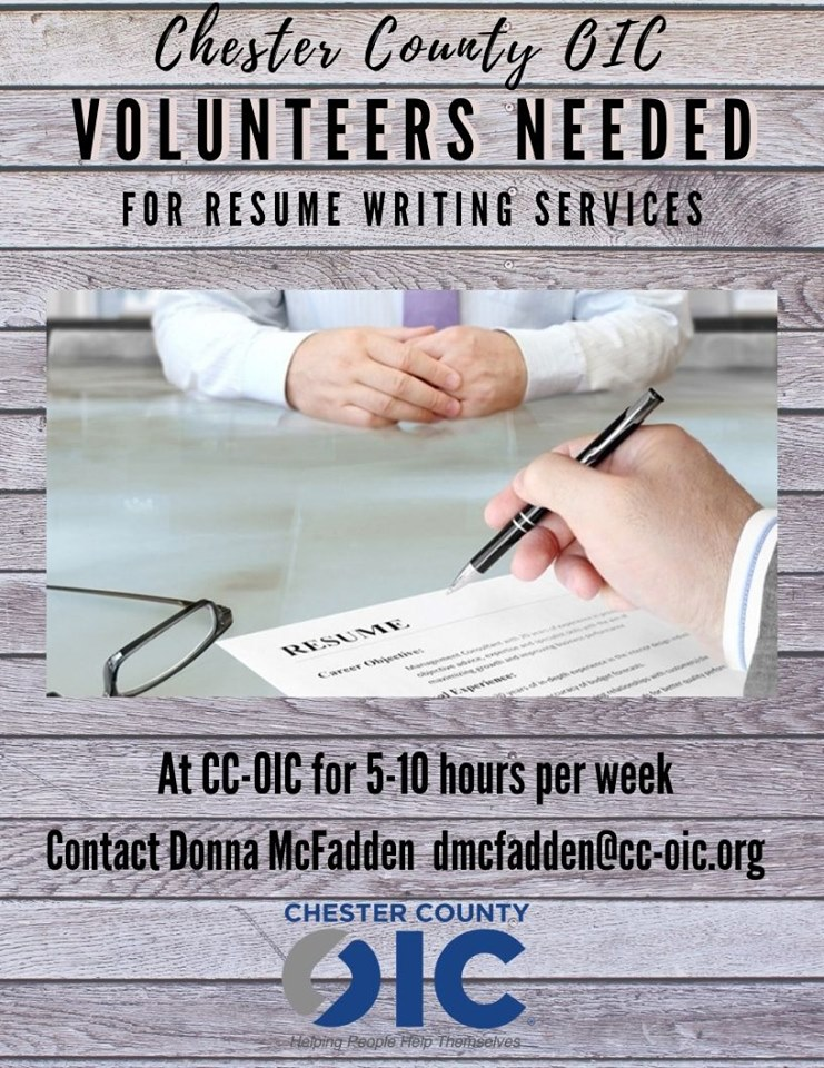 Volunteers Needed for Resume Writing Services