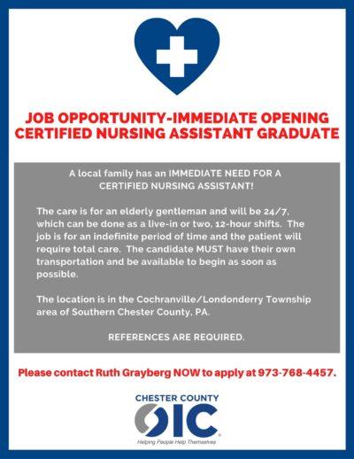 Immediate Opening – Certified Nursing Assistant!